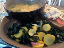 Tuna bruschetta, ramen, and kale and squash salad